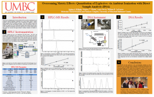 Overcoming Matrix Effects: Quantitation of Explosives via Ambient Ionization with Direct Sample Analysis (DSA)